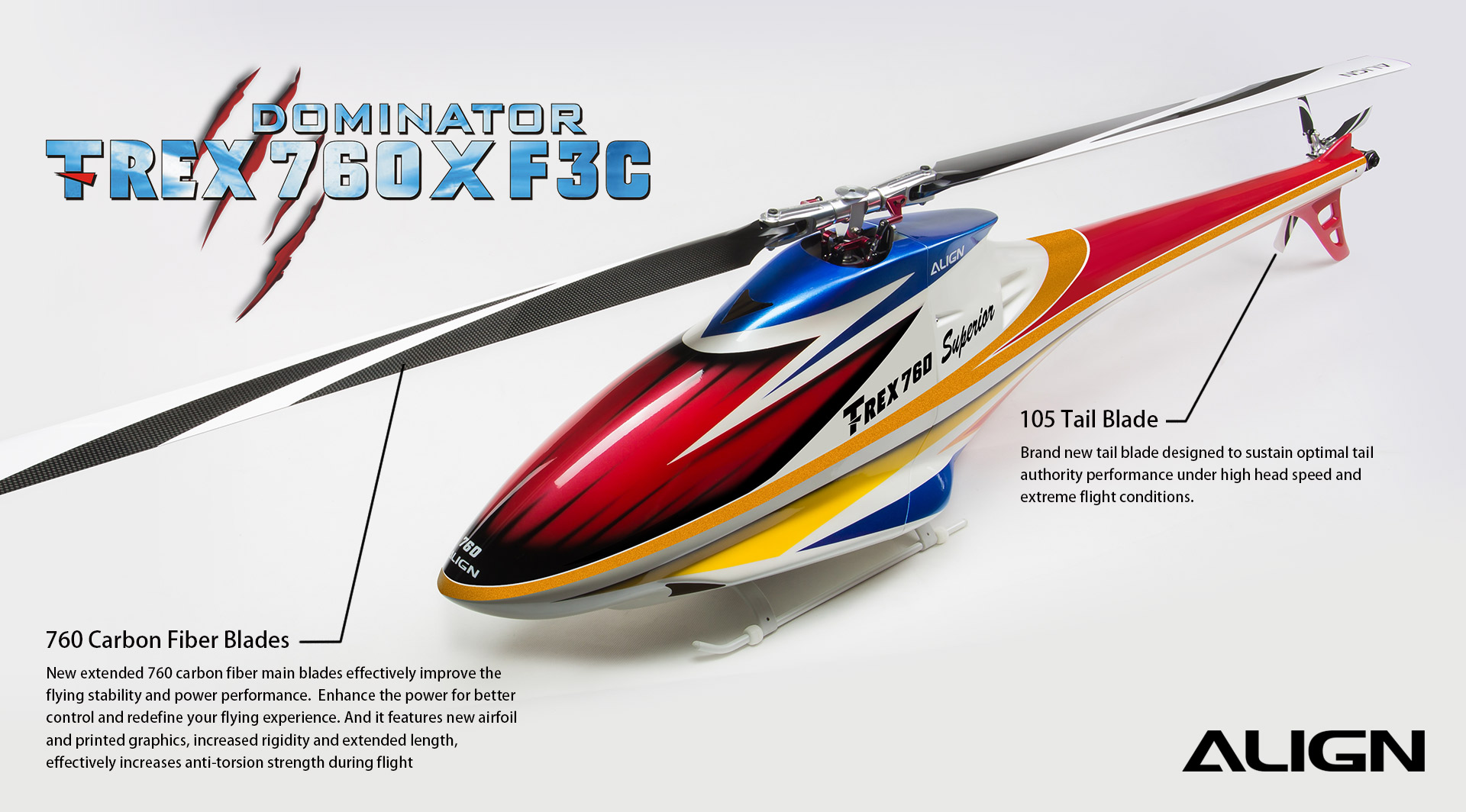 Heli, TREX 760X F3C Dominator Super Combo - Blue